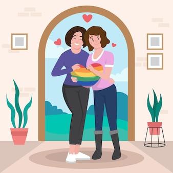 Ilustración de pareja de lesbianas plana orgánica con bandera lgbt
