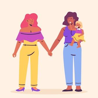 Ilustración de pareja de lesbianas plana orgánica con niño