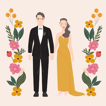 Ilustración de la pareja de novios con fondo de flores. para tarjeta de invitación de boda, póster, impresión artística, regalo.