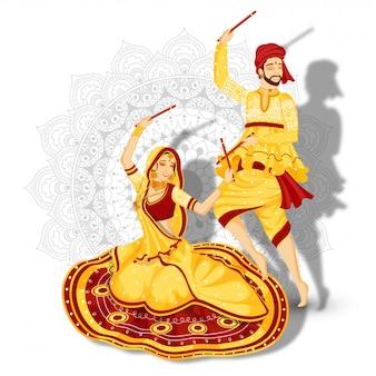 Ilustración de pareja en pose de danza dandiya sobre fondo floral mandala blanco.
