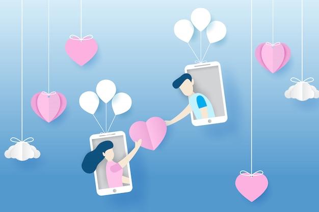 Ilustración de una pareja que da corazones a un teléfono inteligente en el estilo de arte en papel