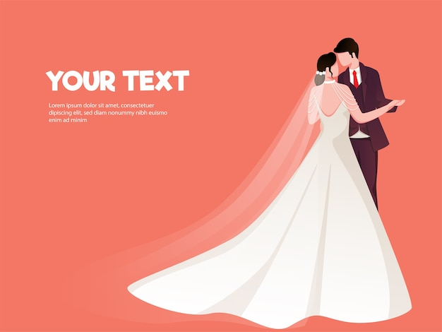 Ilustración de pareja de recién casados