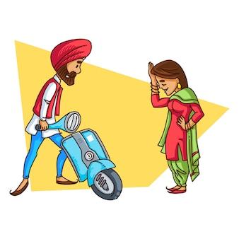 Ilustración de una pareja sardar de punjabi.