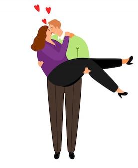 Ilustración de pareja con sobrepeso en el amor
