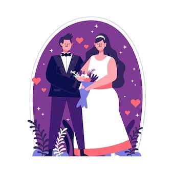 Ilustración de parejas de boda