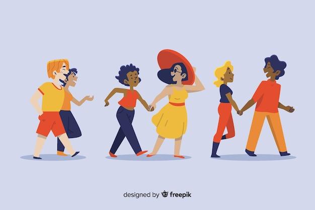 Ilustración de parejas disfrutando de caminar juntos