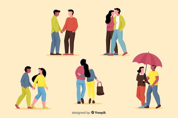 Ilustración de parejas jóvenes caminando colección
