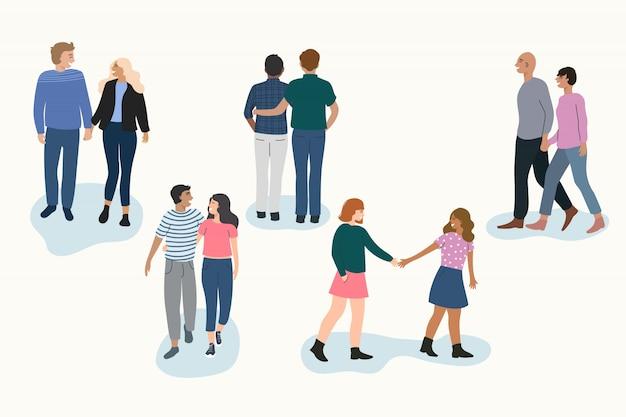 Ilustración de parejas jóvenes caminando set