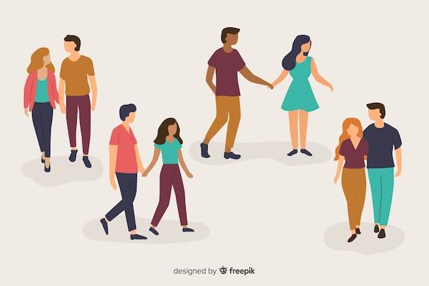 Ilustración de parejas jóvenes caminando