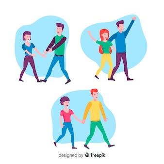 Ilustración de parejas románticas caminando juntos