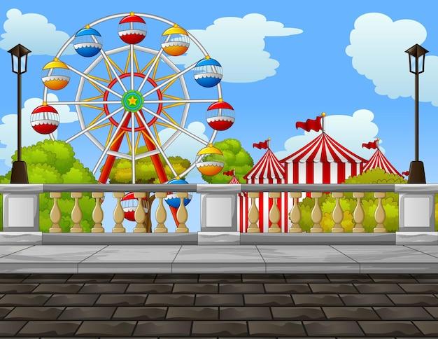 Ilustración del parque de atracciones en el medio de la ciudad.