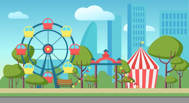 Una ilustración de un parque de atracciones público de la ciudad