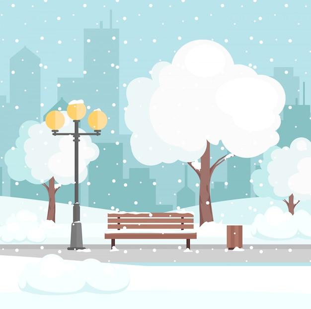 Ilustración del parque de la ciudad de invierno con nieve y el fondo de la ciudad moderna. banco en el parque de la ciudad de invierno, concepto de vacaciones de invierno en estilo plano de dibujos animados, fondo de la tarjeta de felicitación.