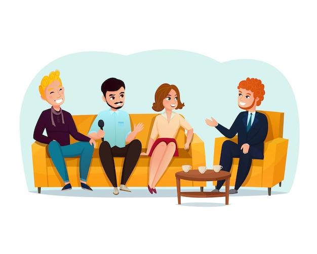 Ilustración de los participantes del programa de entrevistas