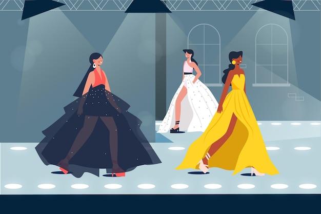 Ilustración de pasarela de desfile de moda dibujado a mano plana