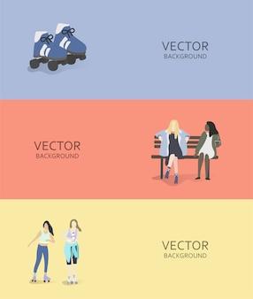 Ilustración de pasatiempos y actividades humanas.
