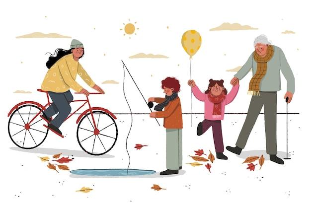 Ilustración de pasatiempos de personas de otoño