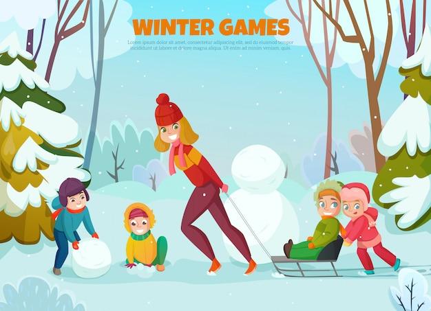 Ilustración de paseo de invierno de jardín de infantes