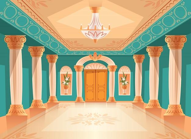 Ilustración del pasillo de recepción del salón de baile o del salón de cámara o museo de lujo.