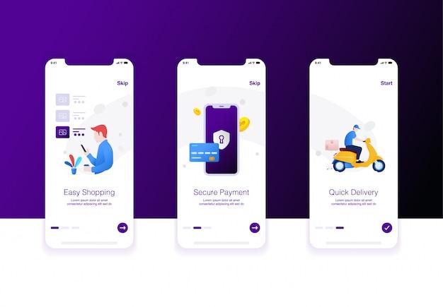 Ilustración del paso de comercio electrónico, compras fáciles, pago de seguridad y entrega rápida