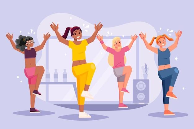 Ilustración de pasos de fitness de baile dibujado a mano plana con personas