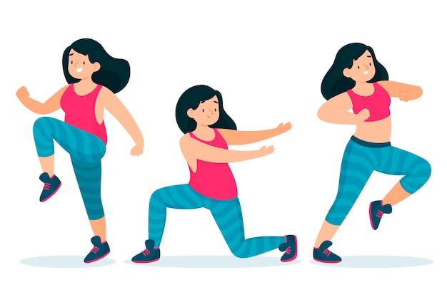 Ilustración de pasos de fitness de baile dibujado a mano plana