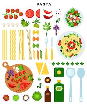 Ilustración de pasta italiana clásica de cocina