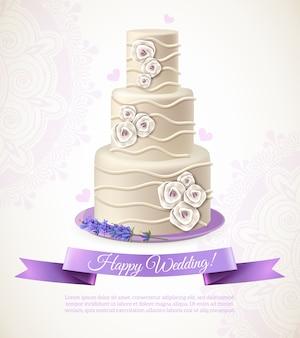 Ilustración de pastel de boda