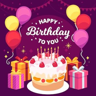 Ilustración de pastel delicioso cumpleaños