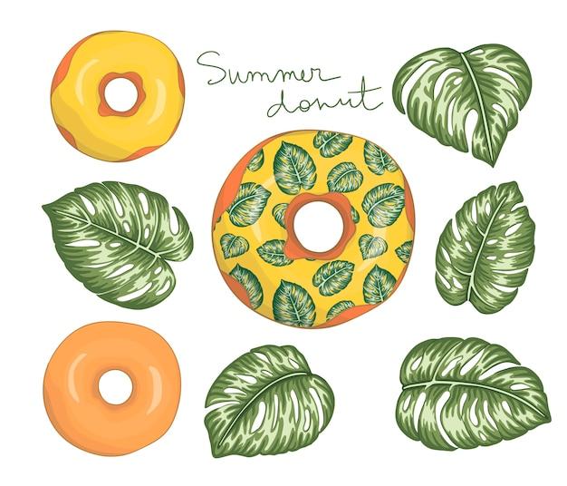 Ilustración de pastel dulce con glaseado amarillo con hojas verdes de monstera. concepto de postre tropical