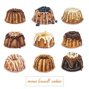 Ilustración de pastel mini bundt