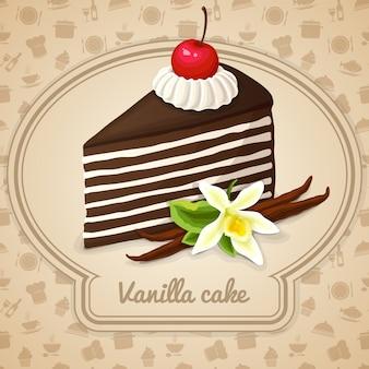 Ilustración de pastel de vainilla en capas