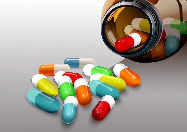 Ilustración de pastillas y cápsulas banner