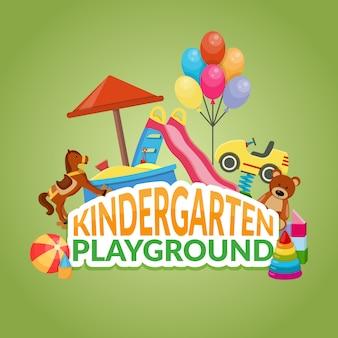 Ilustración de patio de jardín de infantes