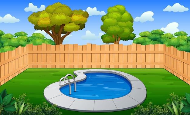 Ilustración del patio trasero con una pequeña piscina