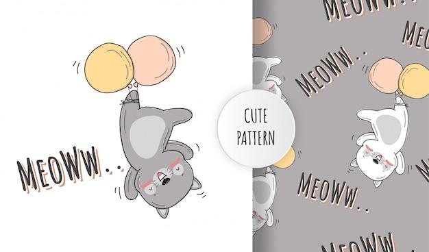 Ilustración de patrón de animal volador feliz plano lindo gato pequeño