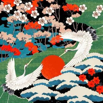 Ilustración de patrón de arte japonés vintage