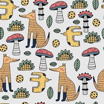 Ilustración de patrón de arte popular