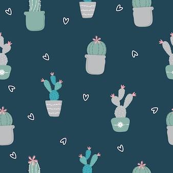 Ilustración de patrón de cactus dibujado a mano sin costura