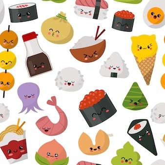 Ilustración de patrón de comida japonesa sushi. menú de cocina tradicional de japón. sushi, panecillos, arroz, salsa de soja, wasabi y fideos conjunto gourmet saludable.
