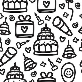 Ilustración de patrón de cumpleaños de dibujos animados kawaii doodle