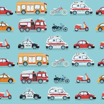 Ilustración de patrón de dibujos animados colorido coche transparente
