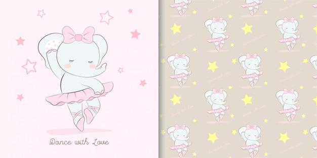 Ilustración y patrón de dibujos animados lindo bailarina elefante