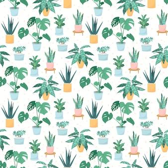 Ilustración de un patrón sin fisuras de plantas de interior de moda en macetas