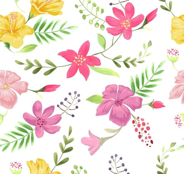 Ilustración de patrón de flor colorida inconsútil