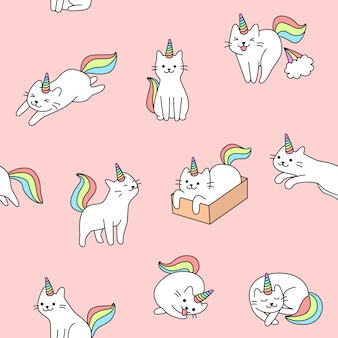 Ilustración de patrón de gato unicornio lindo inconsútil