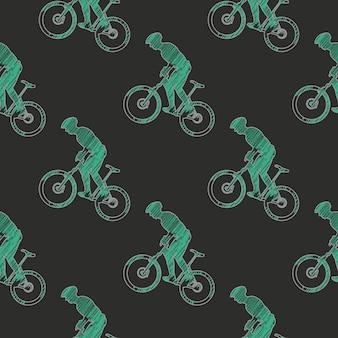 Ilustración de patrón de hombre de bicicleta y ciclistas. imagen de estilo creativo y deportivo.