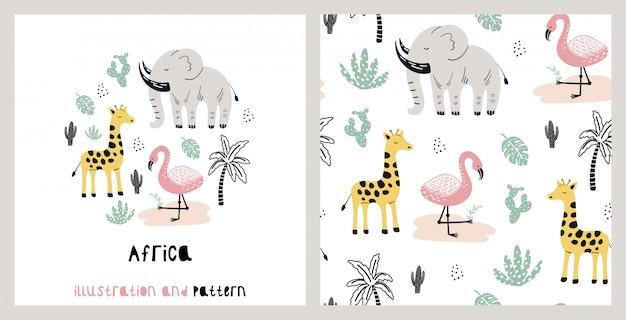 Ilustración y patrón con linda jirafa, elefante, flamenco