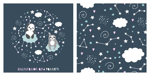 Ilustración y patrón con lindo panda, pereza, estrellas, nubes y constelación