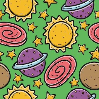 Ilustración de patrón de planeta de dibujos animados kawaii doodle
